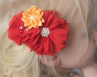Red hair clip, gold hair clip, yellow hair clip, toddler hair accessory, baby shower gift for her, girl birthday gift, flower hair clip