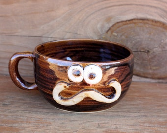 Manly Mustache Soup Mug. Funny Cereal Bowl with Handle. Coffee Cappuccino Latte Mug. Dark Chocolate Brown. Handlebar Mustach. Gifts for Him.