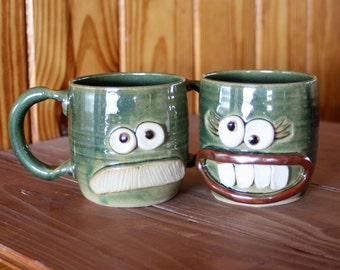 His Hers Matching Mug Set for Couples. Mr Mrs Funny Coffee Cup Pair. His Her Gifts for the Couple in Speckled Green. Funky Coffee Cups.