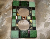 MOSAIC Electrical Outlet COVER , Shades of Green, Wall Plate, Plug