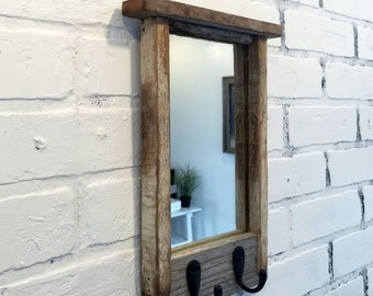 Entryway Mirror with Two Coat Hooks - Rustic Reclaimed Wood Coat Rack Mirror - Handmade Wooden Mirror with Hanging Hooks
