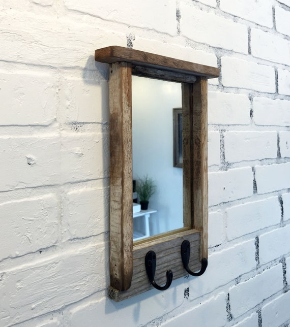 Entryway Mirror With Two Coat Hooks Rustic Reclaimed Wood