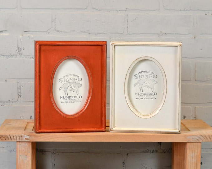 "4x6 Picture Frame with Oval Round Opening in Finish COLOR of YOUR CHOICE - Handmade Wooden 4"" x 6"" Photo Frames"