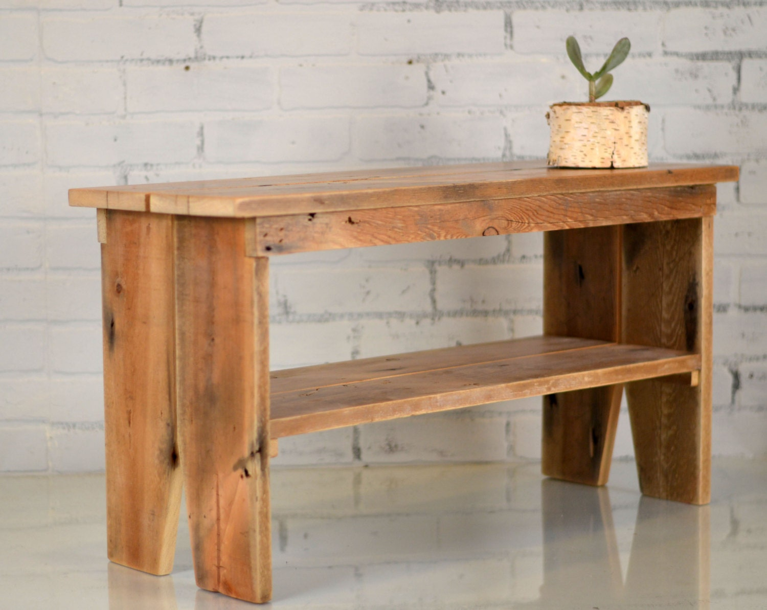 Reclaimed Wood Pine Bench Indoor Cottage Seating Upcycled