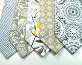 Grey Neckties Grey and Mustard Neckties Custom Neckties Grey Striped Necktie