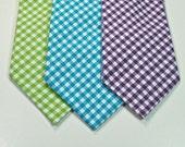 Gingham Neckties Aqua Gingham Necktie Purple Gingham Necktie  Lime Green Gingham Neckties Cotton Neckties