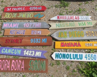 6 Hand painted Wood Directional Signs Destination Sign Arrow Sign Personalized,  For SignPost, with mileage Assorted styles and size