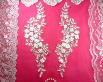 """Mirror Pair Appliques White Silver Metallic Floral Venise Lace Embroidered 11.5"""" (BL80X-whsl)"""