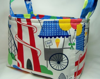 PK Fabric Basket in Fun Fair in Primary - Ready To Ship - Washable - Reversible