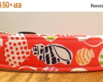 ON SALE She Sells Sea Shells By The Sea Shore Coral Beach Dog Collar