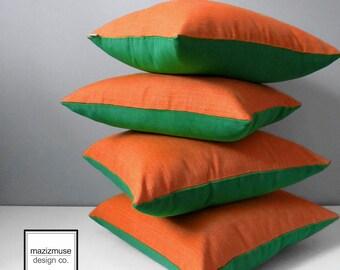 Decorative Outdoor Pillow Cover, Green & Orange Pillow Case, Modern Emerald Throw Pillow Case, Colorful Spark Lime Sunbrella Cushion Case