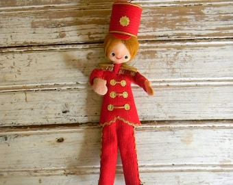 Vintage Christmas Ornament Made In Japan 1960s Drum Major Doll Ornament, Mini Doll Ornament, Kitsch Christmas Ornaments, Red Christmas Decor