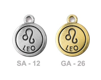 TierraCast Leo Pewter Charm - choose from antique silver or gold - astrology zodiac sign - the lion - birthdays July 23 to August 22nd
