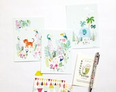 Cards Tropical jungle, animals illustration, elephant, tiger and toucans illustration - size 4 x 6 ""