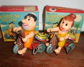 RARE 1962 Tin Wind Up Flintstones Wilma & Fred Tricycle Marx Toys Orignal Boxes Japan
