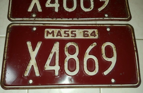Ma Car Registration: 1964 Massachusetts License Plate X4869 Pair Plates Classic Car