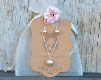 Choose Your Color Pearl Bridesmaid Jewelry Set, Champagne Pearl Jr Bridesmaid Jewelry Gift Set, Pearl Bridesmaid Set, Necklace & Earrings