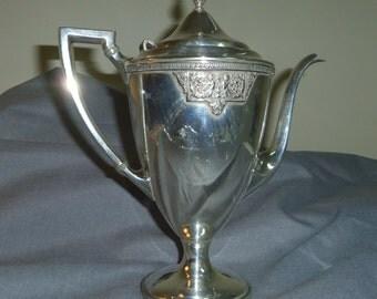"Art Decor Teapot, Meriden Silverplate International Co.,  Marked 2420 C, Dates 1920 - 1930s 10"" tall"