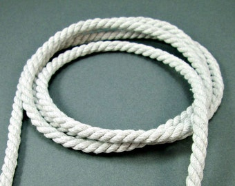 Twisted cotton cord, 6 mm, light grey, 1.5 meters