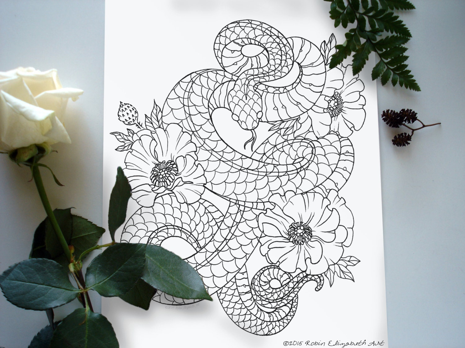 coloring book floral tattoo digital download pdf from