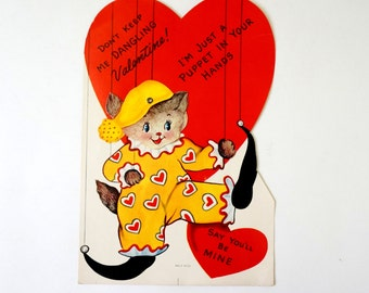Vintage 1950s Large Valentines Card / Unused, Articulated, Clown Cat Puppet, Don't Keep Me Dangling- I'm Just A Puppet In Your Hands