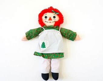 "Vintage 1980s Toy Doll / Playskool Raggedy Ann 18"" Doll with Christmas Dress 1988 VGC"