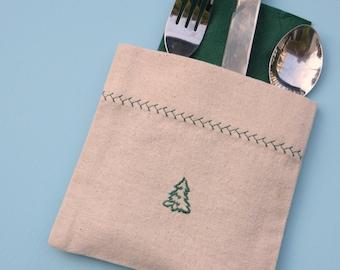 Christmas Tree Silverware Holders, flatware pockets, Christmas table setting
