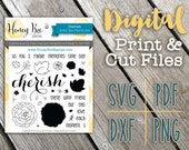 Digital Stamps: Cherish - Honey Bee Stamps - Adorable Country SVG Print and Die Cut Files for Paper Crafting