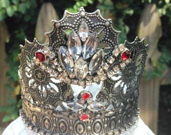 Crown Tiara Vintage Rhinestone Jewlery Doll Bust Statue French