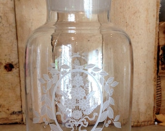 Vintage Etched Apothecary Bottles Lids Hand Blown Glass