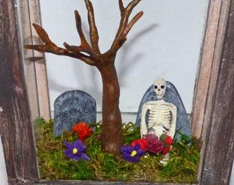 Gothic Art Diorama - Miniature Cemetery in Lantern - Dark Art with Skeleton