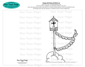 Happy Birthday Birdhouse Card - Color Your Own - Coloring Card - Printable