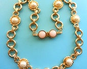 Reserved for Frankie Italian necklace 1970s -LAURANA signed-  simulated mabe pearls and lovely art glass cabochons clasp -high quality for b