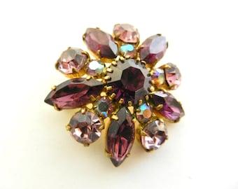 Nostalgic Antique  European gorgeous Art Glass violet and cyclamen colors brooch - dazzling AB stones - Art.121/4 --