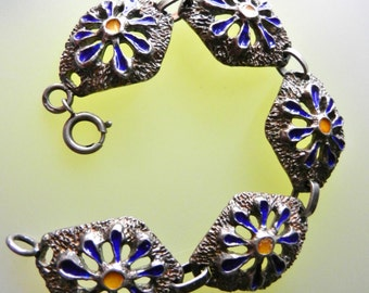 Large Diamond-shaped link enamelled Bracelet vintage 1960s italian bracelet in solid 800 silver - art.189/4 --