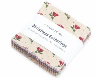 Christmas Gatherings Mini Charm Pack Fabric Moda Primitive Gatherings 1170MC