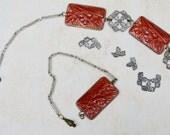 Antique Art Deco Molded Glass Carnelian Color Panel Necklace . As-Is . Repair . Unique Necklace.