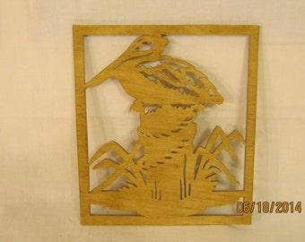 PELICAN On A POST Scroll Saw Plaque
