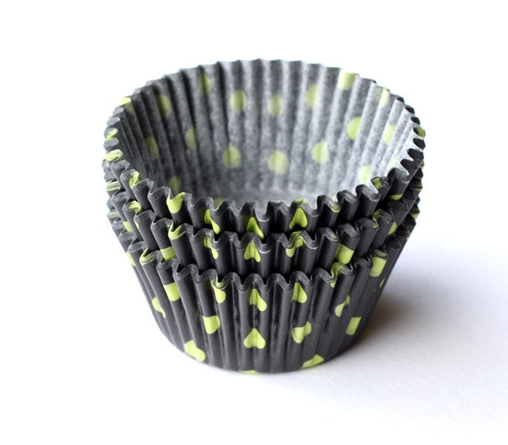 Polka Dot Cupcake Liners, Black and Green Dot Cupcake Liners, Halloween Baking Cups (50)