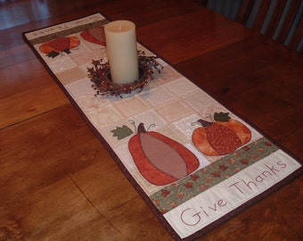 Fall Quilted Table Runner Thanksgiving Primitive Country Pumpkins
