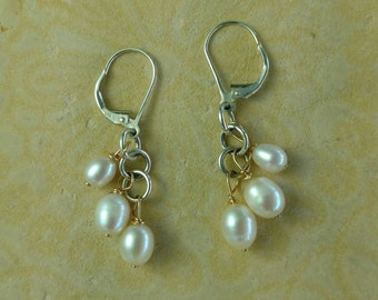 Cascading Freshwater PEARL Earrings with Sterling Silver Lever Backs