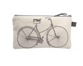 Bicycle Pencil Case, Pencil Bag, Canvas Zip Pouch, Bicycle Gifts, Grey Pencil Case, Pencil Pouch, Bike Gifts, Canvas Pencil Case