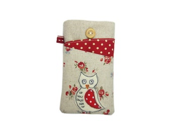 iPhone X Pouch, Red Owl iPhone Case, Fabric Phone Cover for iPhone 8 and 8 Plus, Bird SE Phone Pouch