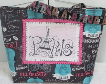 Paris Large Tote Bag Eiffel Tower Shoulder Bag French Grey and Pink Purse Ready to Ship