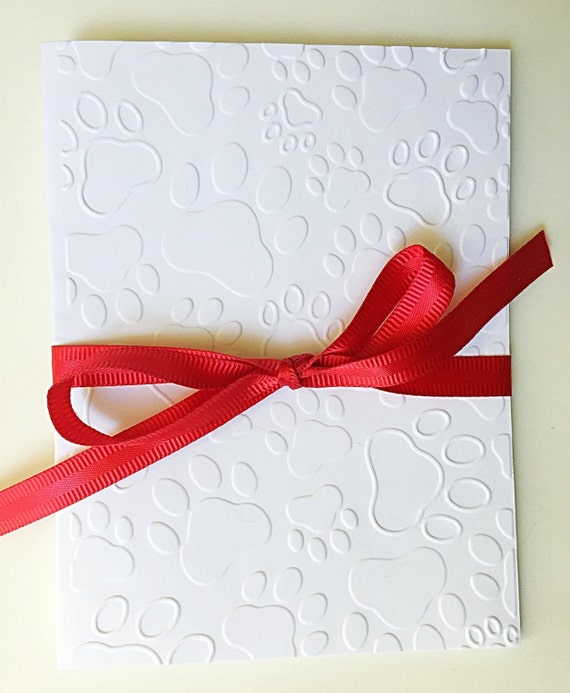 Paw Print Embossed Card. Embossed Paws Note Card. Pet Stationery. Pet Sympathy Card Set. Cat Dog Paws Card. Dog Cards. Cat Cards. Set of 8