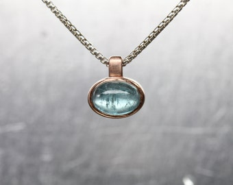 Small Blue-Green Tourmaline 14K Rose Gold Silver Necklace Oval Air Bubble Cabochon Gemstone Delicate Bezel Gift Idea For Her - Ocean Bubble