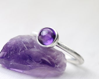 Simple Modern Deep Purple Silver Ring Stackable February Birthstone Amethyst Minimalistic Round Circular Lilac Cabochon - Orchid Orbit
