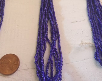 Electric purple French glass seed bead hank silver lined mini hank bright royal color