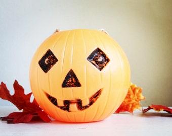 Vintage Halloween Decor, Jack O'Lantern Blow Mold Pumpkin Candy Bucket