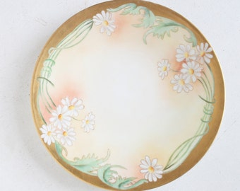 Hand Painted Cabinet Plate, J. Pouyat Limoges Porcelain, Spring Daisies, Wall Plate, Gold and Orange, Floral Decor
